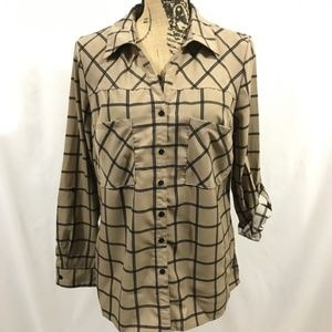 NY Collection Tan Black Window Pane Print